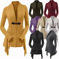 Women's Cable Knit Asymmetrical Long Cardigan Sweater Fashion Design Knitwear!