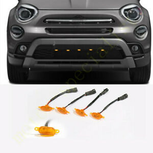 5pcs Yellow Grille LED Light Raptor Style Grill Cover For Fiat 500X 2016-2021