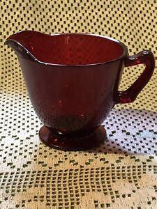 Vintage Anchor Hocking Ruby Red Royal Large  Creamer Mid-Century