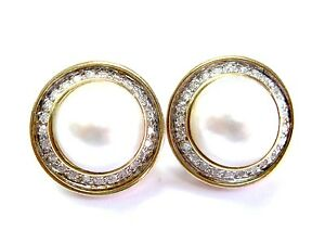 Fine Stunning Mabe Pearl and Diamond Earrings YG 14KT