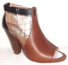 New STEVE MADDEN ALYCCE COGNAC/BLACK LEATHER PEEP TOE PUMPS BOOTIES 9 M