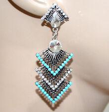 ORECCHINI donna etnici argento strass trasparenti perline azzurre ragazza G7