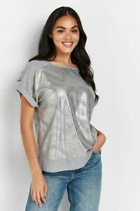 Wallis Womens TALL Silver Foil Animal Print T Shirt Top Blouse Short Sleeve