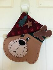 FELT & APPLIQUE REINDEER HEAD CHRISTMAS STOCKING