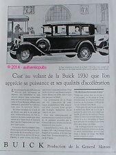 PUBLICITE AUTOMOBILE BUICK HARMONIEUSE GENERAL MOTORS ART DECO DE 1929 FRENCH AD