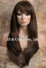 HUMAN HAIR Blend Long Straight Medium Brown Wig WBTO 6