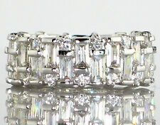 WIDE EMERALD & ROUND CUT CZ ETERNITY BAND Engagement Bridal Wedding Ring- SIZE 9
