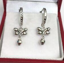 18k Solid White Gold Cute Butter Fly Dangle Hoop Earrings, Diamond Cut 1.70 Gr