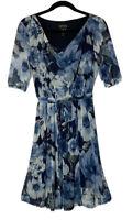 Enfocus Studio Petite Women's Size 8P Blue Floral Pullover Drape Neck Dress New