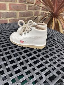GIRLS White KICKERS LEATHER SHOES SIZE 25