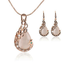 Fashion New Women Peacock Crystal Rhinestone Opa; Necklace Earrings Jewelry Sets