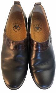 Women's ARIAT  Black Brown Slip On Clogs Shoes Size 7B