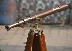 Antique Nautical Brass Leather New Telescope with Wooden Tripod Stand décor