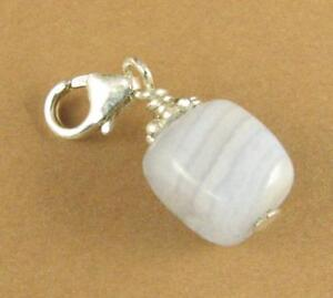 Blue lace agate clip-on charm. Light blue/white.  Sterling silver 925. Handmade.