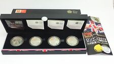 UNS Proof set!, 2012 London Olympics 5pounds 92.5% Silver 4 Color Coins with CoA