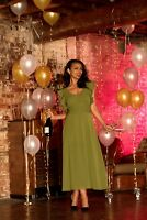 Voodoo Vixen Green Amelia Olive Gown Vintage Dress DRA8578 Party Event UK8-16