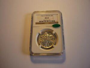 1926S(NGC)(CAC STICKER)(MS 64)(RARE)OREGON TRAIL MEMORIAL COMMEM SILVER HALF $