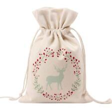 Cotton Canvas Christmas Santa Sack Gift for Kids Drawstring Bag for Storage V2B7