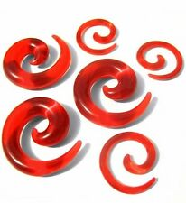 PAIR-Tapers Spiral Red Acrylic 05mm/4 Gauge Body Jewelry