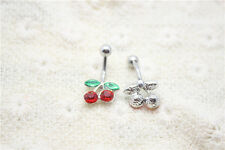 Red&Green Crystal Cherry Dangly Body Piercing Belly Button Navel Belly Bars