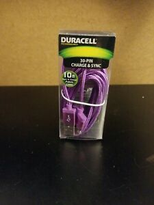 Duracell Sync & Charge 30-Pin USB Cable, 10', Purple Original Box 2017 Braided