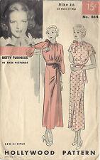 1930s Vintage Sewing Pattern B36 DRESS (1466) Betty Furness Hollywood Pattern