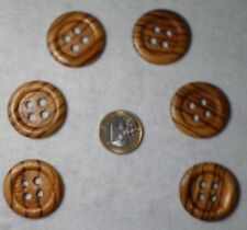 Buttons 6 Wood buttons with grain and vaulted Edge 30mm Four hole