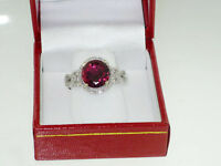 3.58Ct Genuine Natural Rubylite And Diamond Ring In Solid 14K White Gold