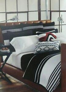 Ralph Lauren Black Adobe Bold Stripe Queen Bedskirt $185 NIP