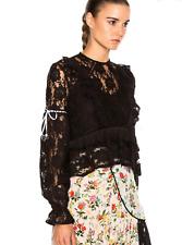Preen Line Emily Blouse Top Shirt Black S Lace Ruffle Cropped Long Sleeve Sheer