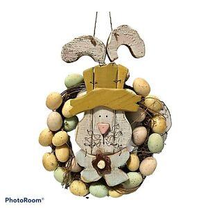"""Wood Easter Rabbit Egg Grapevine Door Wreath Handmade 18"""""""
