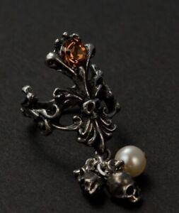 Alchemy Gothic Aurum Mortis Ring Pewter Skull Swarovski Pearl Filigree  Size Q