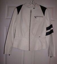 Black Rivet White & Black Leather Cafe Racer Jacket M ladies