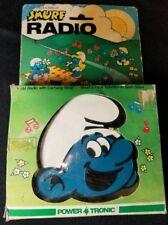 Vintage 1983 Blue RADIO SHACK TANDY SMURF AM RADIO W/ Carrying Strap