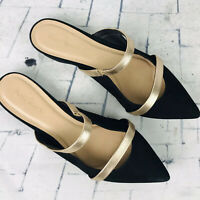 Pure Navy Suede Leather Black & Gold Slip on Slides Mules Flats ~ Womens 7.5