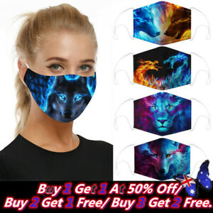 Reusable Cloth Cotton Wolf head Face Mask 3D Shaped Fabric Washable Adult Unisex