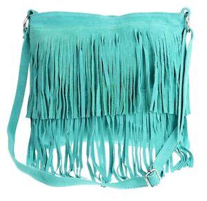 Large Genuine Suede Vera Pelle Shoulder Bag Crossbody Designer Slouch Fringe