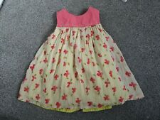 TODDLER ELLE PINK LIME GREEN FLORAL 2 LAYER CHIFFON COTTON SUMMER DRESS 12 MTH