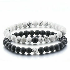 Distance Bracelets for Lovers-2pcs Black Matte Agate & White Howlite 6mm Beads