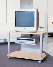 Carrello mobile porta tv, con ruote, rif. faggio struttura in alluminio satinato