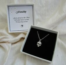 Gift for a friend silver cz skull pendant on silver plated chain boxed gothic
