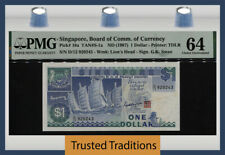 TT PK 18a ND (1987) SINGAPORE BOARD OF COMM. OF CURRENCY 1 DOLLAR PMG 64 CHOICE!