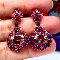 NATURAL 10 X 12 mm. PINK WITH PURPLE AMETHYST RUBY EARRINGS 925 STERLING SILVER