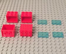 Lego X4 New Red Cupboard Container With Trans-light Blue Doors / Kitchen Cabinet