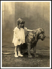 BLOODHOUND WITH LITTLE GIRL LOVELY VINTAGE STYLE DOG PRINT POSTER
