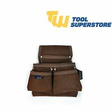 Heavy Duty Leather 4 Pocket Professional Brown Tool Pouch Belt Suede Leather