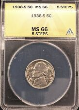 1938-S JEFFERSON NICKEL MS66 5 STEPS ANACS (X367)