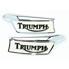 TRIUMPH insignias Tanque Cromo & Esmaltada (se vende como un par)