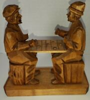BERTHIER BEAUREGARD Quebec Woodcarving Canada Men Playing Checkers Figure LISTED