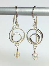 "Circles & Crystals Drop Earrings SF Ear Wire 1"" x 3/8""  Handmade"